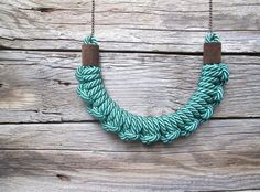 Green rope necklace Rope knot necklace Knotted necklace by NasuKka, $43.00