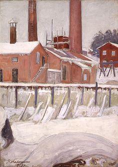 The Factory of Leppäkoski - Pekka Halonen , 1917 Finnish, Chur, North Europe, Snow, Pearls, Landscape, Bricks, Water, Artist, Artworks