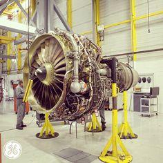 A CFM56 engine under final inspection at GE Aviation in Wales, UK. Shot by @adamsenatori. #manufacturing #technology #avgeek