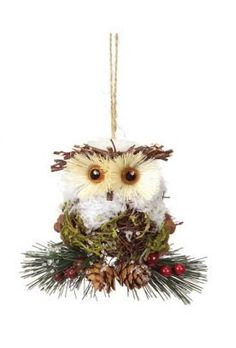 45 modern lodge iced pine cone and twig rustic owl christmas ornament by cc