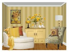 Sunflowers by terry-tlc on Polyvore featuring interior, interiors, interior design, home, home decor, interior decorating, Home Decorators Collection, Amora, Fitz & Floyd and John-Richard