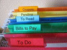 Neatly labeled color file folders help to organize paperwork......and lots of other tips on getting organized!