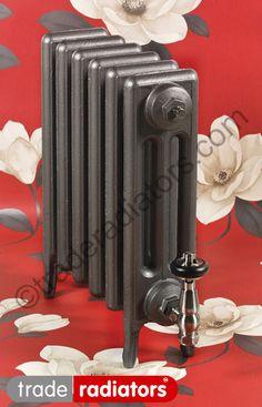 Victorian Slim radiator finished in OLD PEWTER metallic finish.