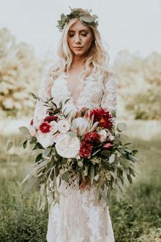 boho wedding dress with bouquet