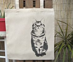 5,99€ Cotton Stamped  Cat Tote Bag Shopping Bag grey by lospajaritosshop