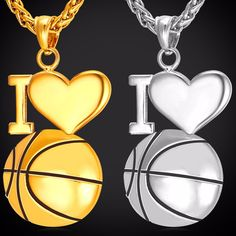 Necklace With I Love Basketball Pendant Features: 100% Brand new, high quality and a MUST HAVE! The quality is very good, it is experienced precision processi