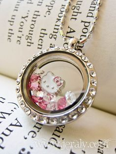 Hello Kitty Style Floating Charm Living Locket with Pink, White and Clear Crystals, Cubic Zirconia Edged Locket Necklace on Etsy, $60.00