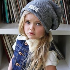 If looks could kill  Yvie in our latest I Dig Denim vest, beanie and tee. Shop this outfit now : www.hipkin.com.au @idigdenim #hipkin #hipkinkids #idigdenim #records #kidsfashion #kidsdenim #iflookscouldkill #vinyl