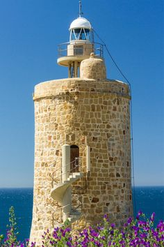 Tower of the Cape of Grace Tower and Lighthouse located in the Spanish municipality of Cadiz, Spain. Lighthouse Pictures, Andalusia Spain, Beacon Of Light, Spain And Portugal, Water Tower, Beautiful Places, Scenery, Castle, Around The Worlds