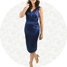 From our collection of Stop Staring party dresses we present; Sapphira. This midnight blue satin dress features beautiful pleated shoulder straps that can be wo
