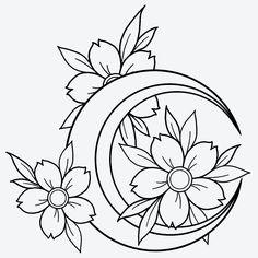 Doodle Tattoo, Doodle Drawings, Tattoo Drawings, Flower Art Drawing, Blue Tattoo, Peonies Tattoo, Semi Permanent Tattoo, Cute Coloring Pages, Desenho Tattoo