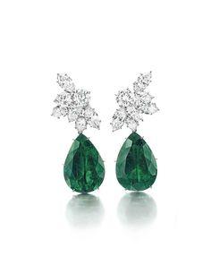 A PAIR OF DIAMOND AND EMERALD EAR PENDANTS   earrings, diamond   Christie's