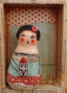 art doll shadow box by carol gourley