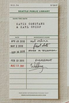 save the date: love this idea but with a server notepad since we met working in a restaurant