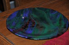 Fused Glass Plate  Green/Purple with a touch of by PennersGlass