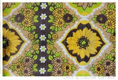 "vtg 60s RETRO YELLOW GREEN BROWN FLORAL BARKCLOTH CURTAIN 41"" (W) X 46"" (L)"