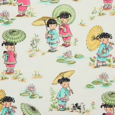 Michael Miller designer fabric Chinese Girls park 1