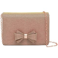 Ted Baker Tie The Knot Kimmeyy Clutch Bag, Rose Gold (€83) ❤ liked on Polyvore featuring bags, handbags, clutches, brown purse, ted baker handbags, faux-leather handbags, evening clutches and brown handbags