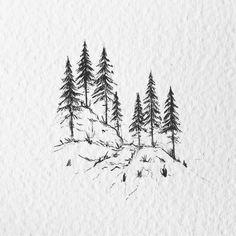 Landscape Sketch, Landscape Drawings, Ink Pen Drawings, Art Drawings Sketches, Nature Sketches Pencil, Unique Drawings, Easy Drawings, Easy Nature Drawings, Realistic Drawings