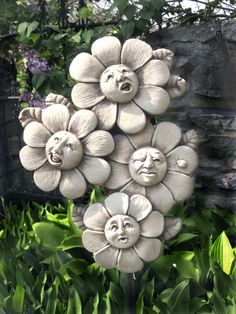 1101 Spring Quartet #carruth #sale #special #flowers #faces #whimsy #gift #garden #sculpture #handmade #usa