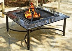 Asia Direct 34 Inch Square Marble Fire Pit Table