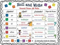Spanish Roll and Write Activities for Present Tense Verbs. It includes both Regular and Irregular Verbs. Spanish Roll and Write Activities for Present Tense Verbs. It includes both Regular and Irregular Verbs. Spanish Tenses, Spanish Sentences, Spanish Worksheets, Spanish Vocabulary, Spanish Grammar, Vocabulary Games, Present Past Tense, Present Tense Verbs, Present Tense Spanish