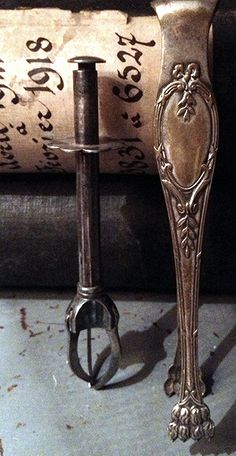 French Silver  FleaingFrance Brocante silver or silver plated ice pick and sugar tongs