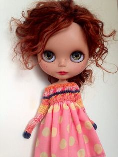 11 inch Blythe Doll with knitted top over dress