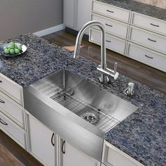 VIGO Bedford Stainless Steel Farmhouse Kitchen Sink Set with Dresden ...