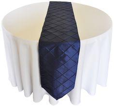 "13""x108"" Pintuck Taffeta Table Runner - Navy Blue (1pc)"