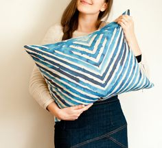 Large herringbone pillow cover large striped by toucheefeelee1