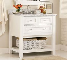 Hall bath. Try without the shelf so we can slide a stool under.