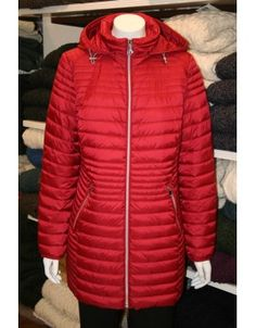 Barbara Lebek quilted jacket featuring a double zip which runs to the high collar and two zipped pockets in front. The hood is detachable. Long Jackets, Winter Jackets, Irish Fashion, Quilted Jacket, High Collar, Fashion Outfits, Clothing, Pockets, Zip
