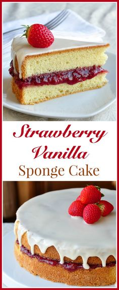 A simple but delicious vanilla sponge cake filled with roasted strawberry jam & topped with an easy vanilla glaze. Makes a simple, elegant birthday cake.