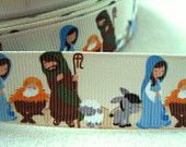 7/8'' -  22 mm Colorful Nativity Scene Grosgrain Ribbon