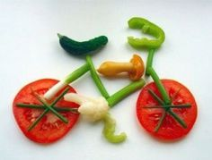 "bicycle...hhhmmn, serve this at each plate at a kid's lunch? Let them dump their ""bikes"" onto their salad!"