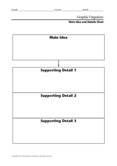 Week 3- main idea and key detail  This is a great graphic organizer to keep track of the main idea and key details.