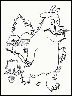 The Gruffalo Coloring Pages 1 - Healthy Food Art Online Coloring Pages, Coloring Book Pages, Printable Coloring Pages, Coloring Pages For Kids, The Gruffalo, Gruffalo Party, Gruffalo Activities, Preschool Activities, Activities For Kids