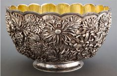 Tiffany & Co sterling silver rose bowl with chrysanthemum motif in the Chinese style - New York, c1907 (chineseexportsilver)