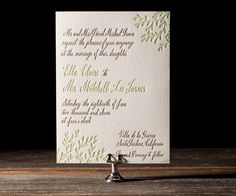 Pretty calligraphy leaves in soft spring colors pair with modern whimsy in Maybelle's Sonoma Calligraphy letterpress wedding invitations.