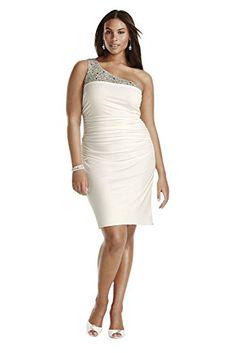 e52edd5864 Jersey Beaded One Shoulder Short Plus Size Wedding Dress ... https