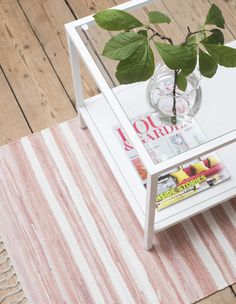 Dusky pink striped Scandinavian rag rug and hallway runner from Skandihome, home of Swedish and Scandinavian rugs and gifts