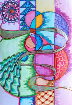 doodling and colours Tangle Doodle, Doodles Zentangles, Zen Doodle, Zentangle Patterns, Doodle Art, Art Journal Pages, Journal Ideas, Doodle Coloring, Sharpie Art