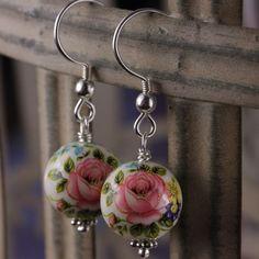 Lisa Angel Rose Bead Earrings in White  at lisaangel.co.uk
