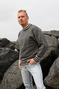 Sweater Shop with the finest original Norwegian wool Sweaters and Wool Jumpers. We offer huge selection of Norwool Knitwear pure wool - Free ship Sweater Shop, Men Sweater, Jumper Knitting Pattern, Icelandic Sweaters, Knitting For Charity, Mens Fashion Sweaters, Polo Neck, Unisex Fashion, Knitting Designs