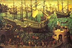 "On this day in 1520 Henry VIII stayed at Leeds Castle on the way to the Field of Cloth of Gold. A copy of the painting of the ""Embarkation from Dover"" hangs in the Henry VIII Banqueting Hall at Leeds Castle."