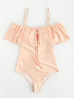 ¡Cómpralo ya!. Lace Up Design Cutout Back Flounce Swimsuit. Pink One Pieces & Monokinis Sexy Vacation Push Up Polyester YES Swimwear. , bañador, bañadores, swimsuit, monokini, maillot, onepiece, one-piece, bathingsuit, badeanzug, badeanzug, trajedebaño, maillotdebain, costumedabagno, bañador. Bañador  de mujer   de SheIn.