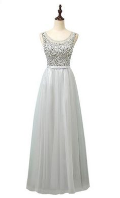 Gray Sexy A Line Tulle Beading Prom Dresses Formal Long Evening Party Dress Sleeveless Prom Dresses For Teens, Cheap Dresses, Sexy Dresses, Beautiful Dresses, Fashion Dresses, Formal Dresses, Dress Party, Party Dresses, Wedding Dresses