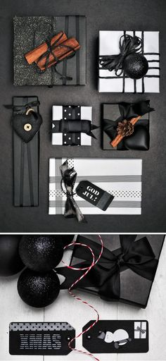 Idées emballages cadeaux, black and white wrapping, packages, gifts!!! Bebe'!!! Sophisticated Gift Wrap In Black And White!!!