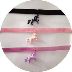 Punk Rock Gothic Goth Little Unicorn Pony Velvet Choker Necklace Black Pink Lavender , steampunk black clothing black style (unicorn birthday cakes black)
